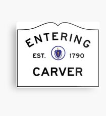 Entering Carver - Commonwealth of Massachusetts Road Sign Metal Print