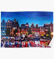 Amsterdam Skyline With Canal At Night Poster