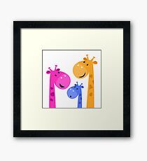 Group of giraffes collective. Vector cartoon Illustration Framed Print