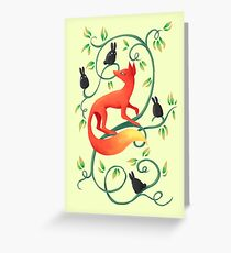 Bunnies and a Fox Greeting Card