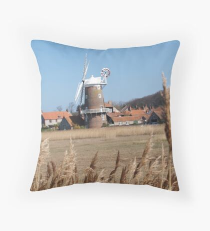 Cley Windmill from the reeds Throw Pillow