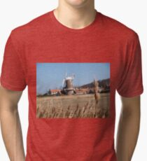 Cley Windmill from the reeds Tri-blend T-Shirt