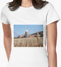 Cley Windmill from the reeds Women's Fitted T-Shirt