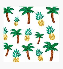 Tropical inspired pattern. Pineapple and Palmtree. Watercolor Art. Photographic Print