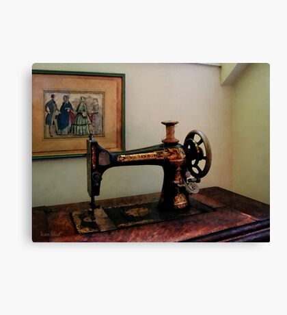 Sewing Machine and Lithograph Canvas Print