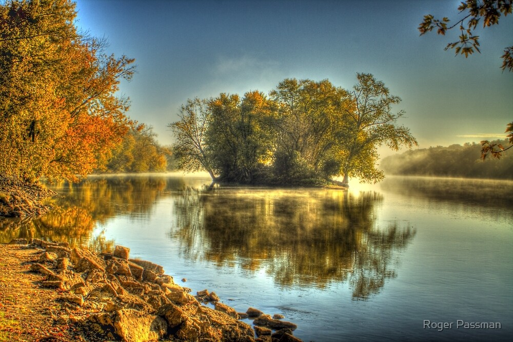Island - Morning on the Rock River by Roger Passman