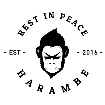 Rest In Peace Harambe - Large - (Black Silhouette) by WiseOttsel