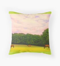 Nature with horses Throw Pillow