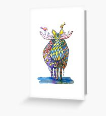 Moose With Friends Watercolor Print Greeting Card