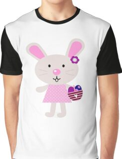 Cute retro easter bunny. Vector cartoon Illustration : Designer Cloth Graphic T-Shirt