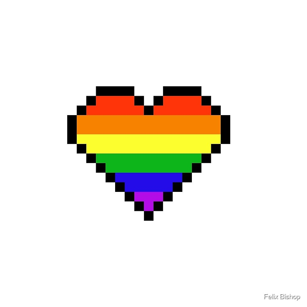 Rainbow Pixel Heart By Felix Bishop Redbubble