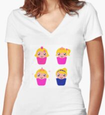 Little princess cakes for your School Girl Women's Fitted V-Neck T-Shirt