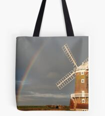 Cley Windmill and Rainbow 2010 Tote Bag