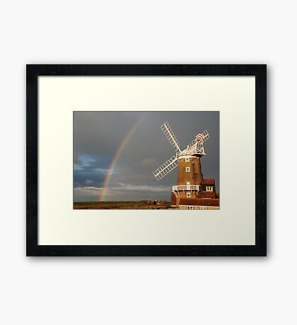 Cley Windmill and Rainbow 2010 Framed Print