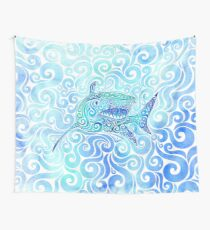 Swirly Shark Wall Tapestry