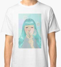 Blue Girl Blowing Bubbles Classic T-Shirt