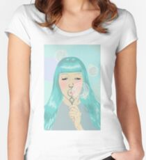 Blue Girl Blowing Bubbles Fitted Scoop T-Shirt