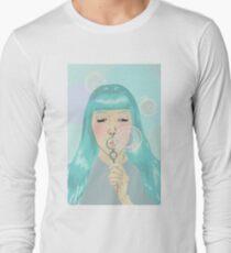Blue Girl Blowing Bubbles Long Sleeve T-Shirt