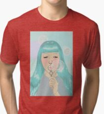 Blue Girl Blowing Bubbles Tri-blend T-Shirt
