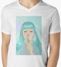 Blue Girl Blowing Bubbles V-Neck T-Shirt