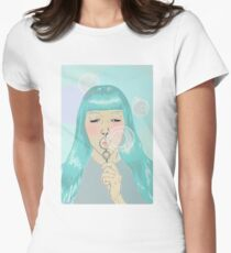 Blue Girl Blowing Bubbles Women's Fitted T-Shirt