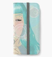 Blue Girl Blowing Bubbles iPhone Wallet/Case/Skin
