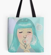 Blue Girl Blowing Bubbles Tote Bag