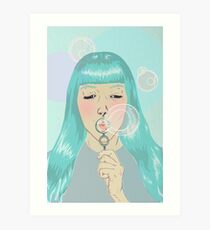 Blue Girl Blowing Bubbles Art Print