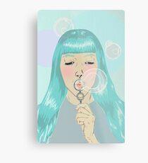 Blue Girl Blowing Bubbles Metal Print