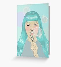 Blue Girl Blowing Bubbles Greeting Card