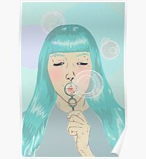 Blue Girl Blowing Bubbles Poster