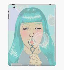 Blue Girl Blowing Bubbles iPad Case/Skin