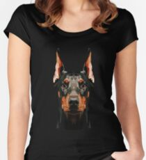 Doberman low poly Women's Fitted Scoop T-Shirt
