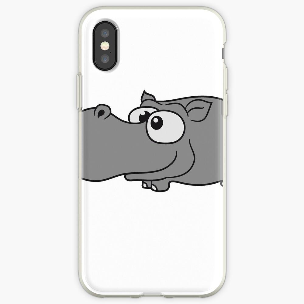 comic cartoon design kleines süßes niedliches baby kind nilpferd glücklich  iPhone-Hülle & Cover
