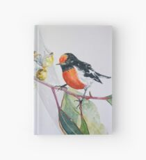 Red Capped Robin with Gum Blossom Hardcover Journal