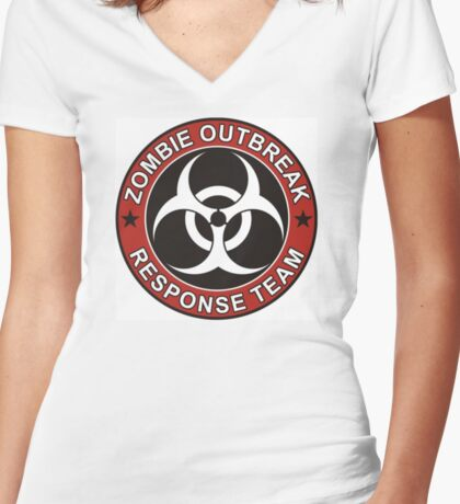 ZOMBIE RESPONSE TEAM 3 color Women's Fitted V-Neck T-Shirt