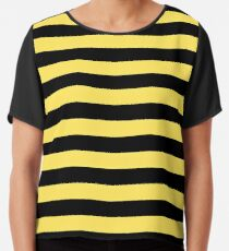 245d1d818aa Me Before You - Black and Yellow Stripes Chiffon Top