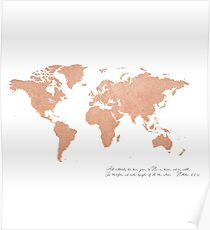 Rose Gold Foil World Map (Matthew 28) Poster