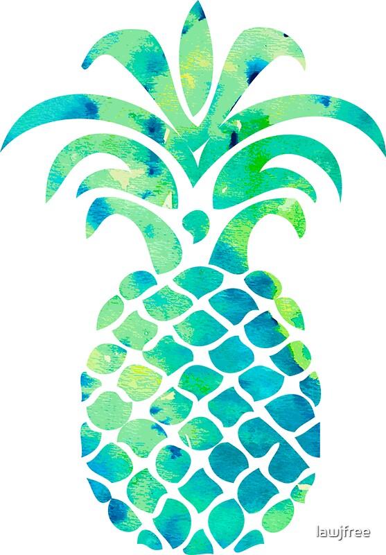"""Blue Watercolor Pineapple"" Stickers by lawjfree | Redbubble"