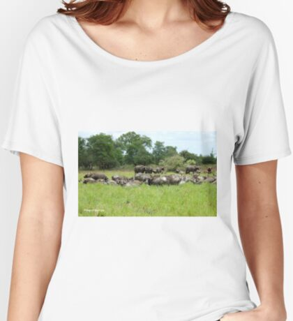 ON A HOT DAY A SMALL WATERHOLE - The Buffalo - Syncerus caffer  Women's Relaxed Fit T-Shirt