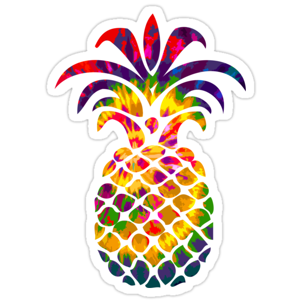rainbow tie dye pineapple stickers by lawjfree redbubble. Black Bedroom Furniture Sets. Home Design Ideas