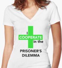 I Cooperate in the Prisoner's Dilemma Women's Fitted V-Neck T-Shirt
