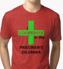 Camiseta de tejido mixto Yo coopero en el dilema del prisionero