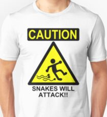 Caution: Snakes will Attack!! Unisex T-Shirt