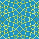 Geometric yellow and blue snowflake tile pattern by flashman