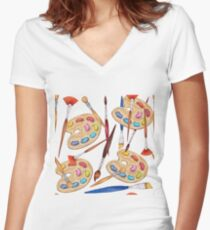 pattern palette with brushes Women's Fitted V-Neck T-Shirt