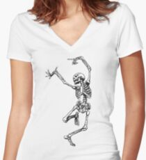 Dance your bones off Women's Fitted V-Neck T-Shirt