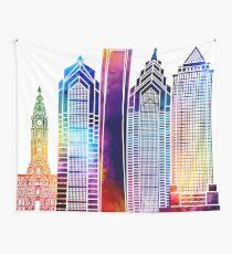 Philadelphia landmarks watercolor poster Wall Tapestry