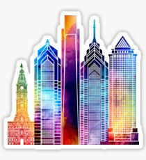 Philadelphia landmarks watercolor poster Sticker