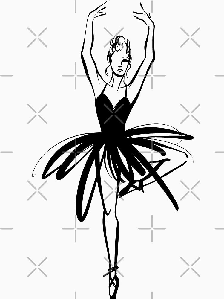 Ilustración gráfica dibujada a mano Ballet Dancer de picbykate